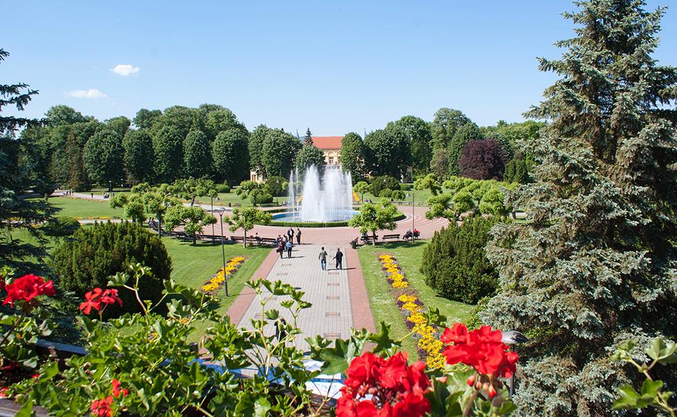 Banje u Srbiji, centar banje sa pogledom na fontanu