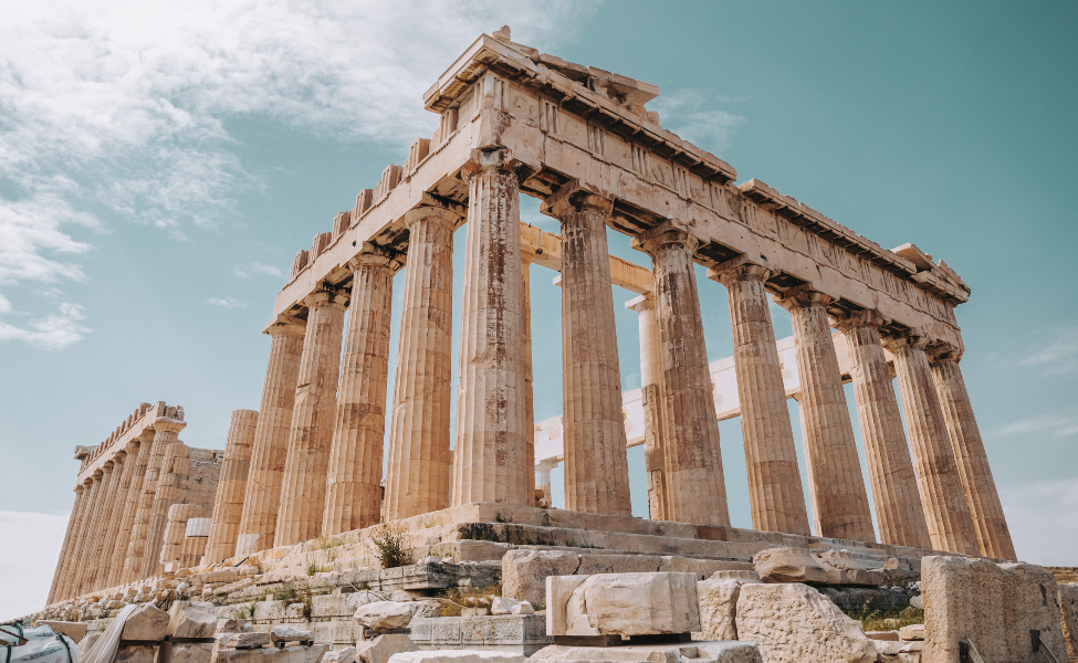 Columns of Pantheon in the Acropolis of Athens complex