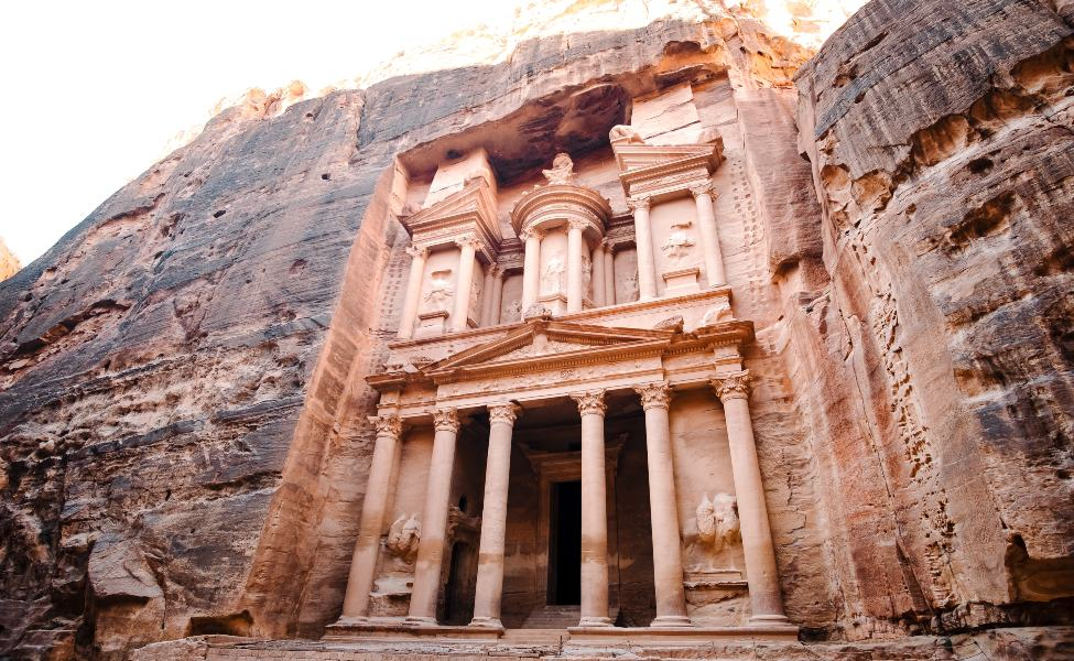 The structures carved in the cliffs in Petra, Jordan