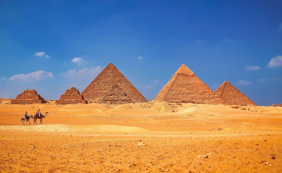 The complex of pyramids in the desert near Cairo