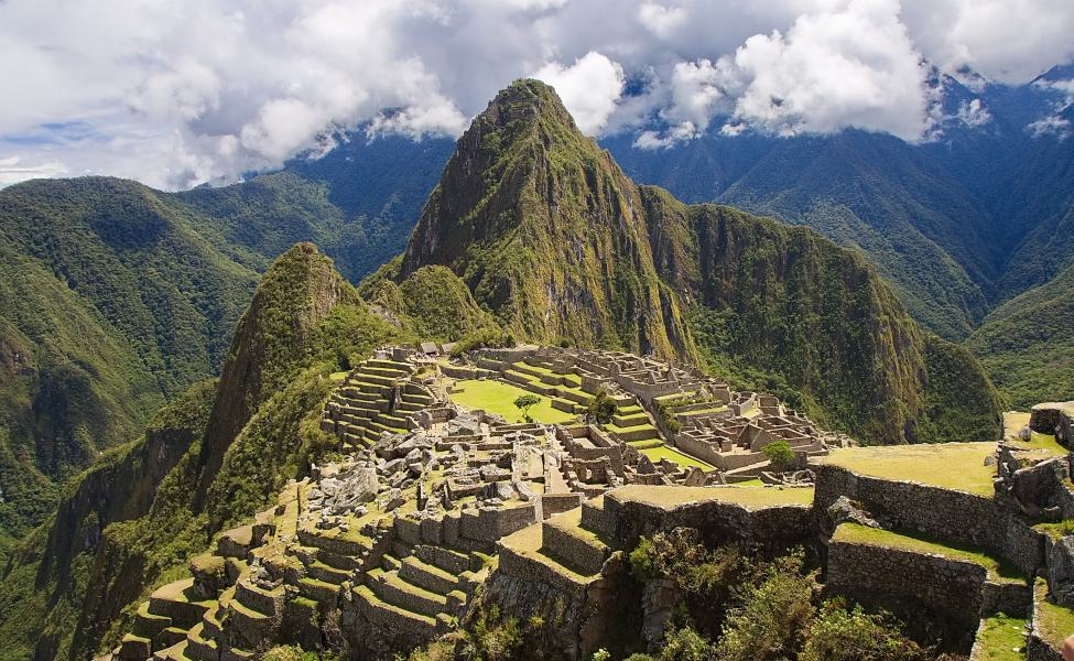 Ruins of Machu Picchu in the Andean hills