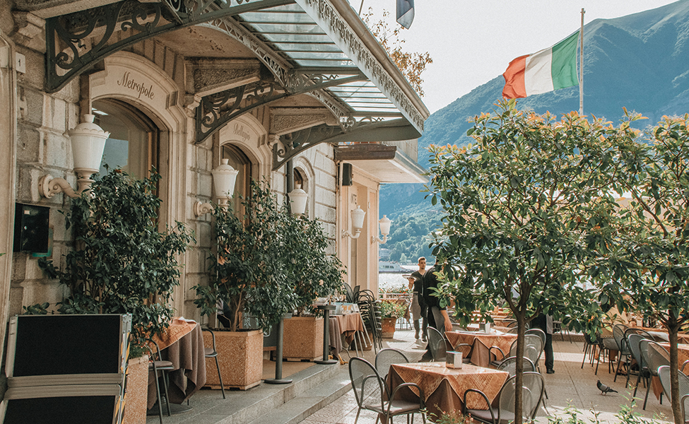 Lake Como in Italy, restaurant and hotel