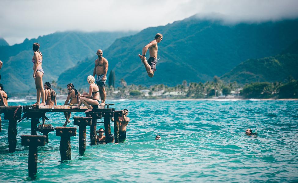 People having fun on the lake
