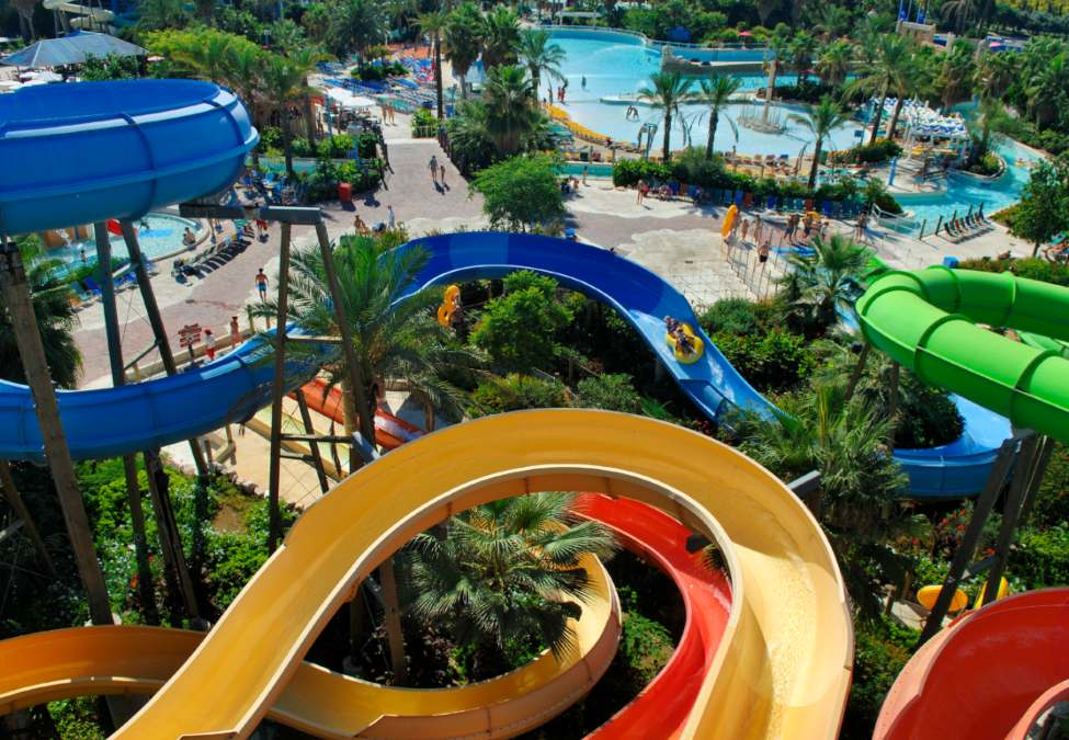 Colorful, twisting slides and crystalline pools of PortAventura's Caribe inspired qater park