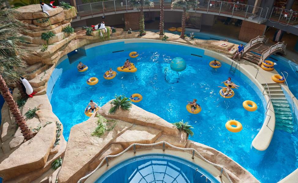 Aerial view of an indoor pool with faux rocks