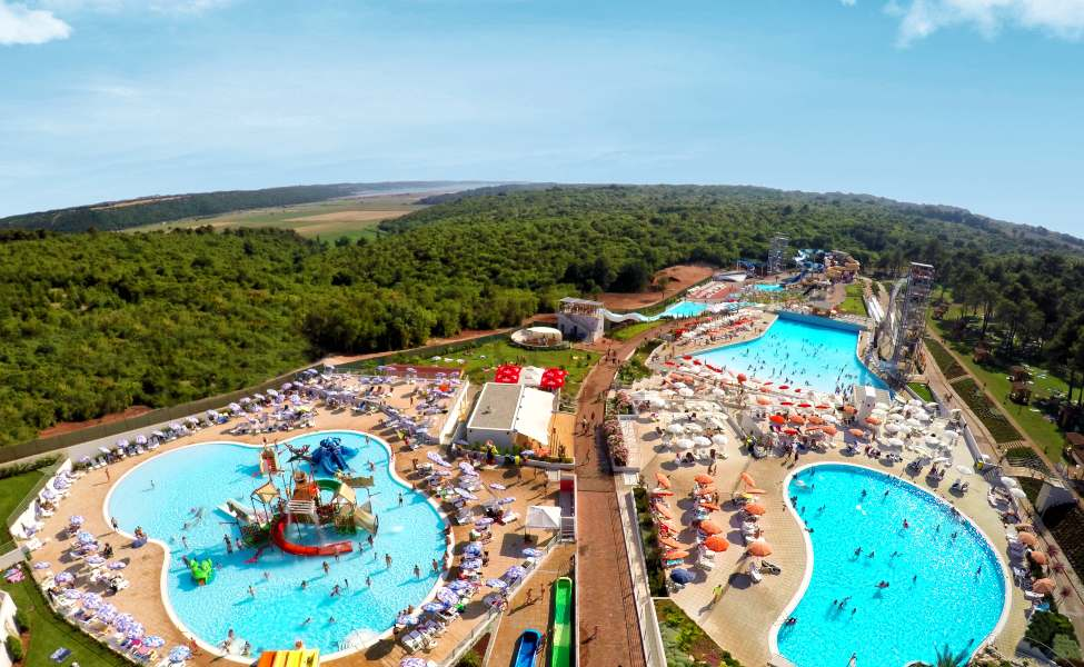 Aerial view of the pools and slides of Istralandia