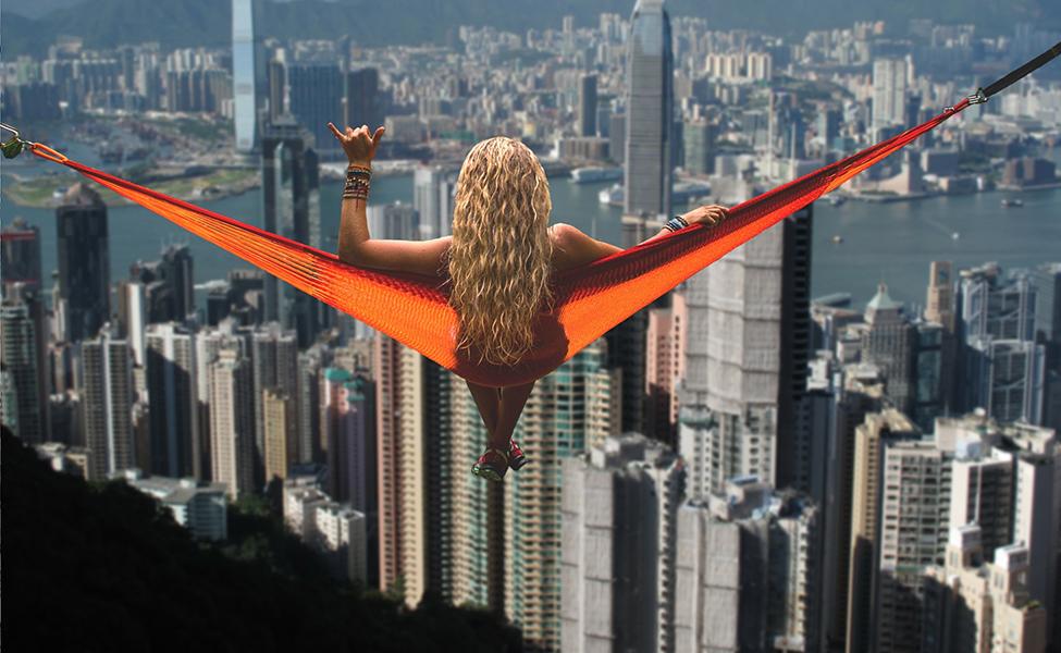 Girl looking at Hong Kong panorama