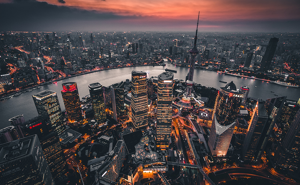 A huge city with buildings in China