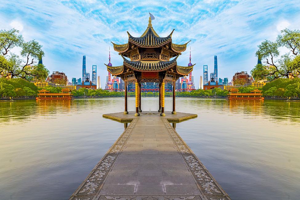 China temple and amazing lake