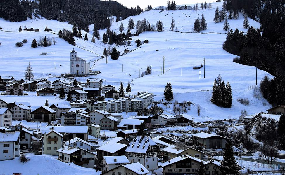 Ski resort on the Alps