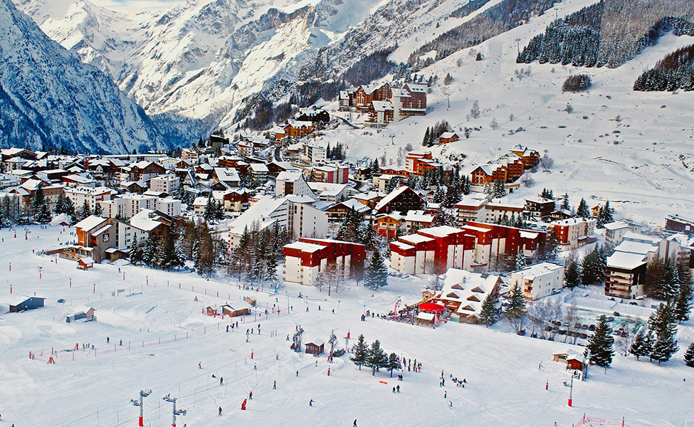 Ski resort during the winter with white snow