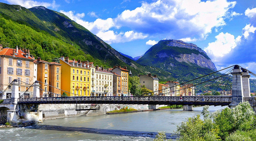 Grenoble city in the French Alps