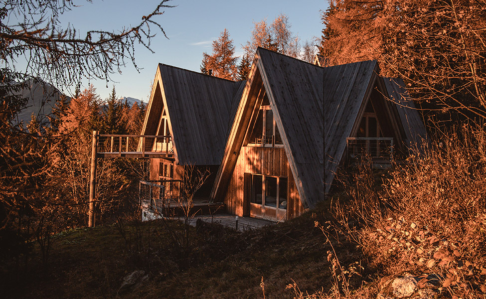 Wood cabins on the French Alps