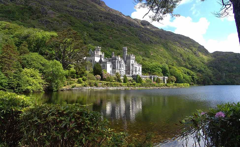 Castle in Ireland, surrounded with green nature