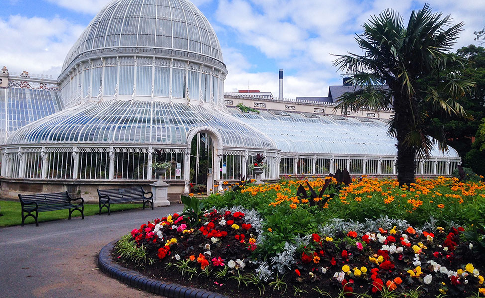 A botanical garden in Ireland with beautiful flowers