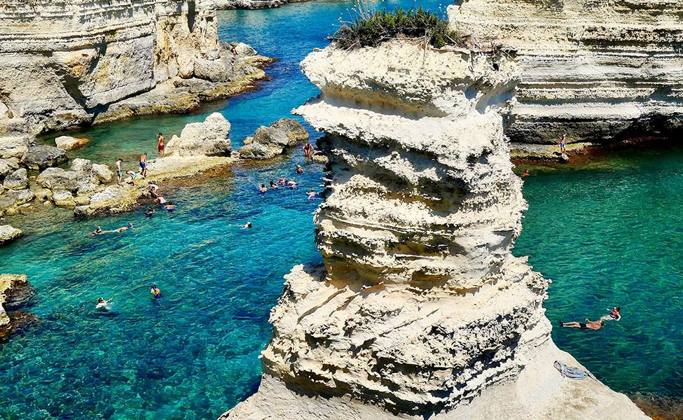 Puglia, Italy, the famous stone beach