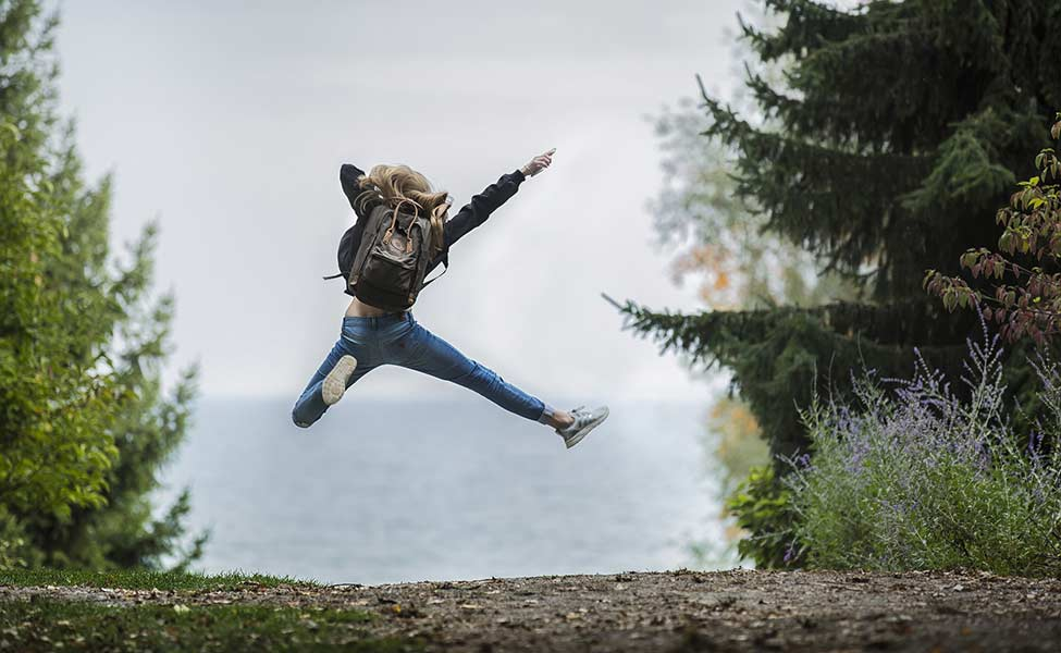 a girl who jumps for joy and embarks on an adventure