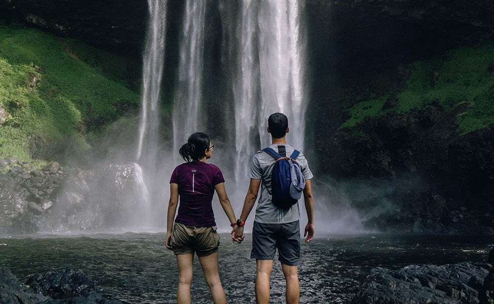 Two people having an adventure vacation