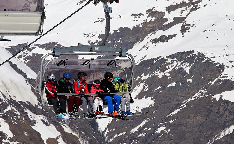 Family in the ski resort