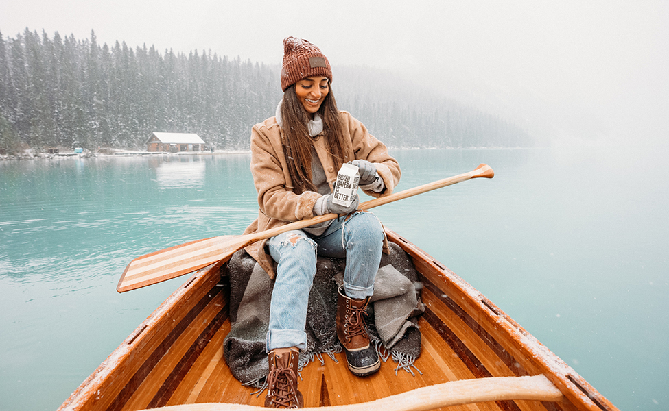 a girl on a boat during the winter